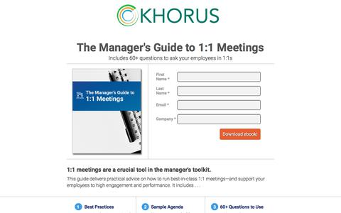 Screenshot of Landing Page khorus.com - 1:1 Meetings Gude for Managers  |  Khorus Software - captured March 27, 2018