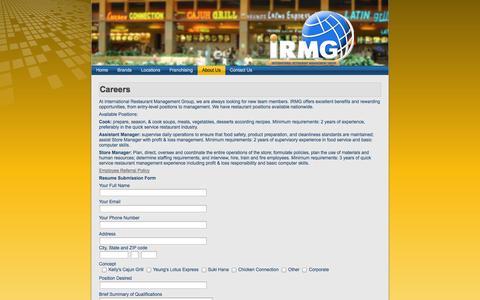 Screenshot of Jobs Page irmgusa.com - International Restaurant Management Group: Careers - captured Oct. 6, 2014