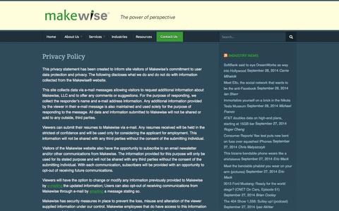Screenshot of Privacy Page makewise.com - Makewise LLC  |  Privacy Policy - captured Sept. 30, 2014