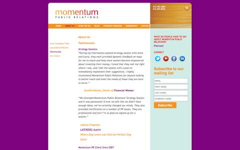 Screenshot of Testimonials Page momentum-pr.com - Testimonials | momentum public relations - captured Oct. 1, 2014