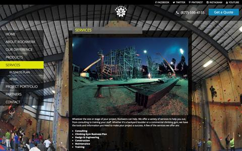 Screenshot of Services Page rockwerxclimbing.com - Services | Rockwerx, Inc. Climbing Wall Professionals - captured Jan. 11, 2016