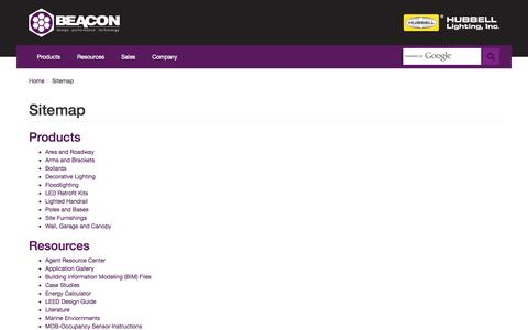 Screenshot of Site Map Page beaconproducts.com - Beacon Products - captured Sept. 30, 2014
