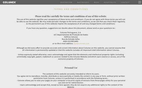 Screenshot of Terms Page colunex.com - Terms and Conditions | Colunex - captured Sept. 29, 2018