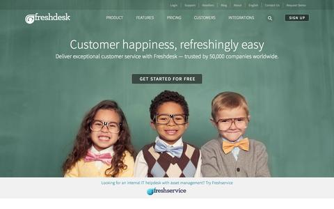 Screenshot of Home Page freshdesk.com - Freshdesk - Online customer support software and helpdesk solution - captured Oct. 27, 2015