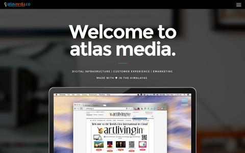 Screenshot of Home Page atlasmedia.co - atlas media.co Digital Infrastructure | Customer Experience | eMarketing. Made with ♥ in the Himalayas. - captured Jan. 28, 2015