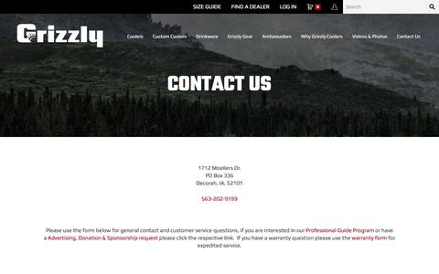 Screenshot of Contact Page grizzlycoolers.com - Contact Grizzly | Outdoor Coolers, Colored Coolers  | Grizzly Coolers - captured Nov. 16, 2016