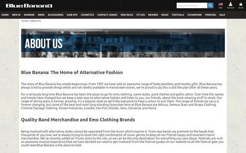 Screenshot of About Page bluebanana.com - About Us, Alternative Fashion, Body Piercing Jewellery, Blue Banana UK - captured July 29, 2016