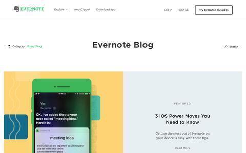 Screenshot of Blog evernote.com - Blog | Evernote - captured June 29, 2018