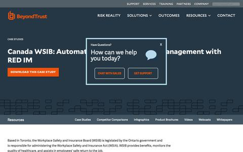 Screenshot of Case Studies Page beyondtrust.com - Canada WSIB: Automate Privileged Account Management with RED IM | BeyondTrust - captured Dec. 29, 2018