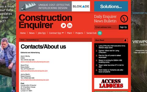 Screenshot of Contact Page constructionenquirer.com - Contacts/About us Ι   Construction Enquirer - captured Dec. 12, 2015