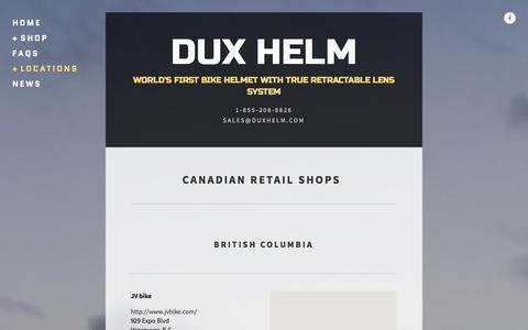 Screenshot of Locations Page duxhelm.com - Dux Helm - Canada market — DUX HELM - captured Oct. 5, 2014