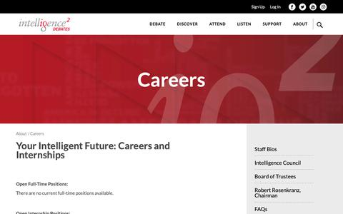 Screenshot of Jobs Page intelligencesquaredus.org - Careers | About | IQ2US Debates - captured Feb. 12, 2019