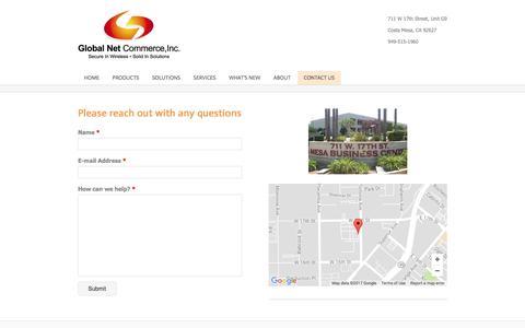Screenshot of Contact Page gnciwireless.com - Contact Us - GNCI Wireless - captured Aug. 9, 2017