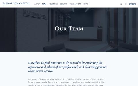 Screenshot of Team Page marathon-cap.com - Clean Energy Advisors - All Transactions Led by a Managing Director - captured Oct. 16, 2018