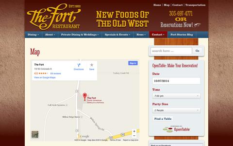 Screenshot of Maps & Directions Page thefort.com - Map/Directions - The Fort Restaurant - captured Oct. 6, 2014