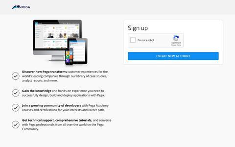 Screenshot of Signup Page pega.com - Create new account | Accounts - captured Nov. 3, 2019