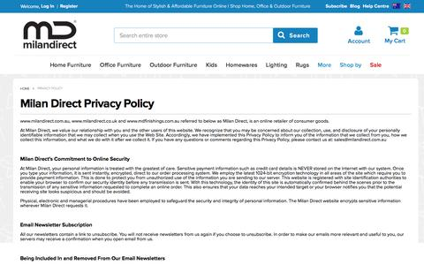 Screenshot of Privacy Page milandirect.com.au - Privacy Policy - captured Aug. 22, 2016