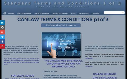 Screenshot of Terms Page canlaw.com - Contact us CanLaw binding terms and conditions CanLaw contacts - captured June 29, 2017