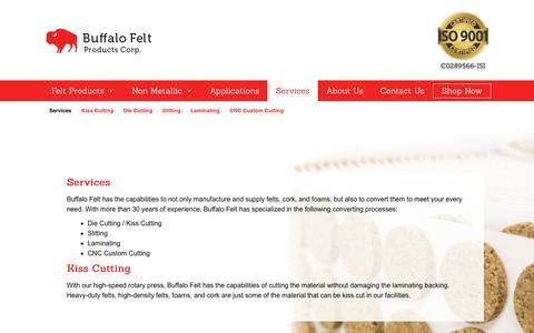 Screenshot of Services Page buffalofelt.com - Services – Buffalo Felt - captured Oct. 7, 2018