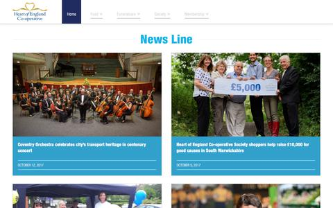 Screenshot of Press Page heartofengland.coop - News | Heart of England Co-operative - captured Oct. 18, 2017