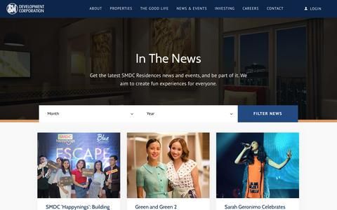 Screenshot of Press Page smdc.com - SMDC | In The News - captured Oct. 1, 2018