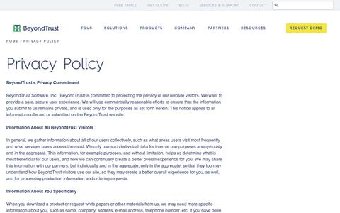 Screenshot of Privacy Page beyondtrust.com - Privacy Policy - BeyondTrust - captured June 30, 2017