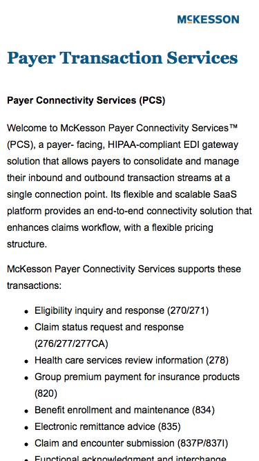 Screenshot of Landing Page  mckesson.com -