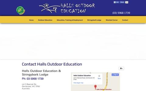 Screenshot of Contact Page hallsoutdoored.com.au - Halls Outdoor Education - School Camps, Activities and Programs - Contact - captured March 14, 2016