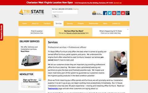 Screenshot of Services Page tristateofficefurniture.com - Services - Tri-State Office Furniture - captured Oct. 7, 2014
