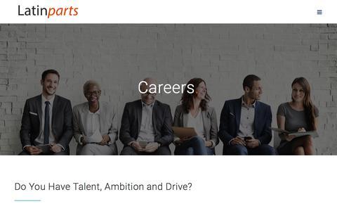 Screenshot of Jobs Page latinparts.com - Careers - Latin Parts - captured July 16, 2018