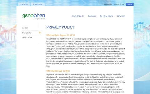 Screenshot of Privacy Page genophen.com - Privacy Policy - Genophen - captured July 19, 2014