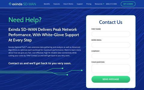 Screenshot of Contact Page exinda.com - Contact Us   Exinda SD-WAN - captured Feb. 26, 2020