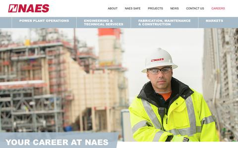 Screenshot of Jobs Page naes.com - Your Career at NAES | NAES, NAES Corporation, Energy Services, Energy Company, Power Plant, Operations and Maintenance, NERC, CIP, CMMS, Construction, Fabrication, Technical Services, Environmental Services, Engineering Services, Asset Management - captured Nov. 15, 2017