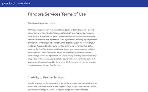 Screenshot of Terms Page pandora.com - Pandora Services Terms of Use - captured Feb. 3, 2017
