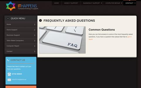 Screenshot of FAQ Page it-happens.eu - IT Happens Frequently Asked Questions - captured Oct. 3, 2014