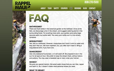 Screenshot of FAQ Page rappelmaui.com - Rappel Maui | Frequently Asked Questions - captured Oct. 9, 2014