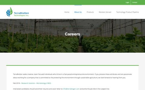 Screenshot of Jobs Page terrabiogen.com - Careers - Terrabiogen - captured Nov. 18, 2018