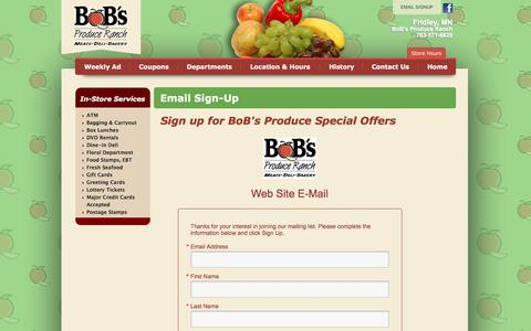Screenshot of Signup Page bobsproduce.com - BoB's Produce Ranch :: Email Sign Up - captured June 21, 2016