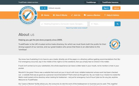 Screenshot of About Page trustatrader.com - About Us | TrustATrader - captured Oct. 12, 2017