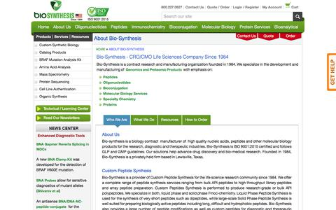 Screenshot of About Page biosyn.com - About Us - Bio-Synthesis - captured Oct. 10, 2017