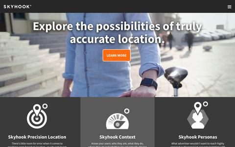 Screenshot of Products Page skyhookwireless.com - WiFi Based Location System Products | Skyhook - captured Jan. 23, 2018