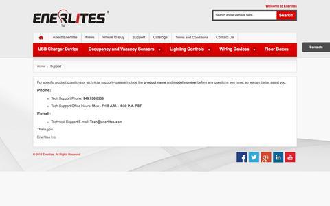 Screenshot of Support Page enerlites.com - Support - captured Jan. 29, 2016
