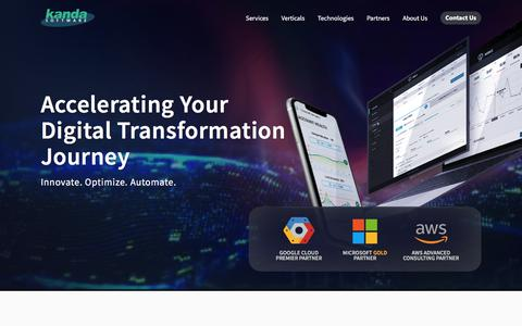 Screenshot of Home Page kandasoft.com - Kanda Software: Custom Software Development Company - captured Feb. 22, 2020