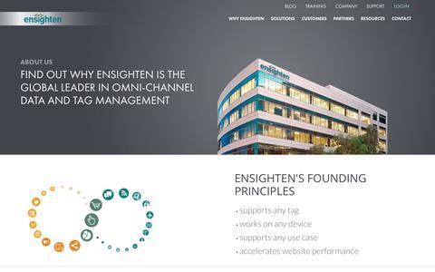 Screenshot of ensighten.com - About Us | Ensighten's Vision for an Omni-Channel Platform - captured June 16, 2015
