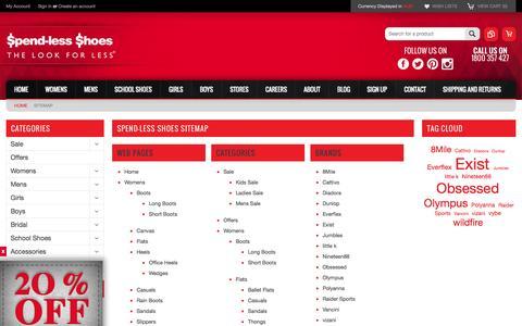 Screenshot of Site Map Page spendless.com.au - Spend-less Shoes Sitemap - captured Nov. 4, 2014