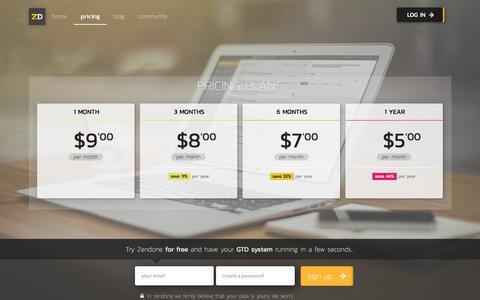 Screenshot of Pricing Page hi-is.com - Zendone GTD app   Pricing - captured Nov. 8, 2016