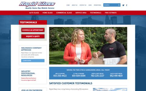 Screenshot of Testimonials Page rapidglass.com - Customer Testimonials | Auto, Home & Commercial Glass - captured Sept. 21, 2018