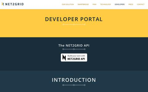Screenshot of Developers Page net2grid.com - NET2GRID Developer portal - captured Oct. 19, 2018