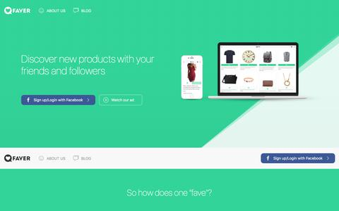 Screenshot of Home Page faver.co.uk - Faver | Discover social Shopping - captured July 7, 2018