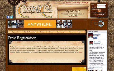 Screenshot of Press Page connecticon.org - Press Registration   ConnectiCon - captured Sept. 24, 2014